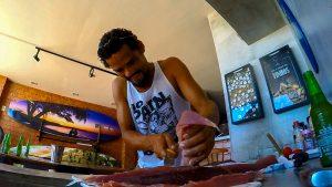 Sashimi de atum pescado na hora